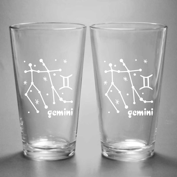 Gemini constellation pint glasses by Bread and Badger