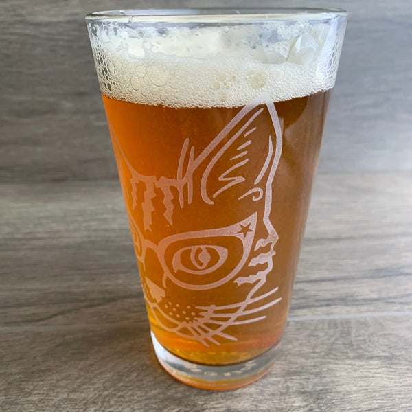 Glasses Cat etched pint glass by Bread and Badger
