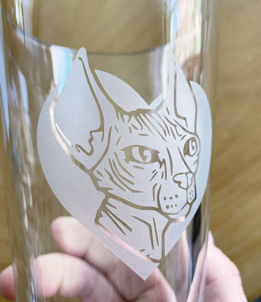 Sphynx Cat beer glass by Bread and Badger