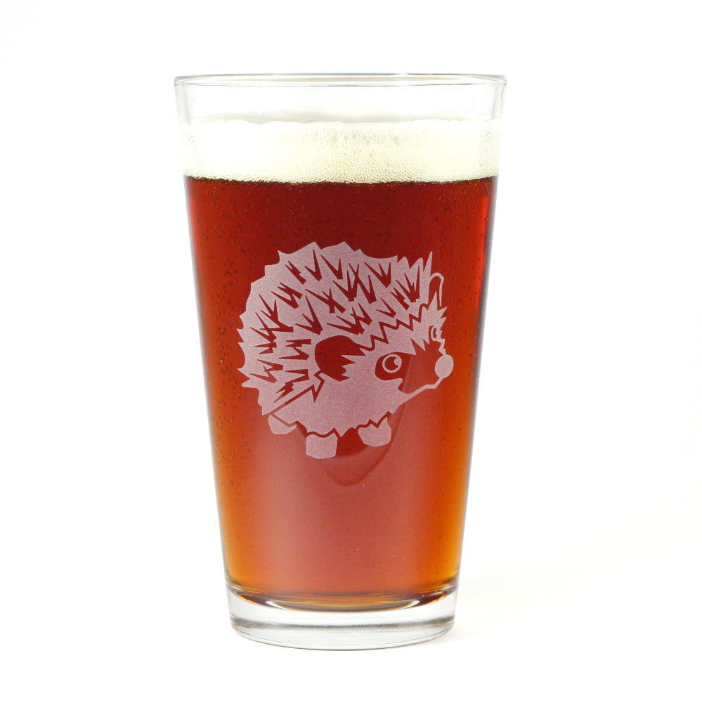 Hedgehog beer pint glass