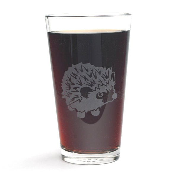 Hedgehog pint glass by Bread and Badger