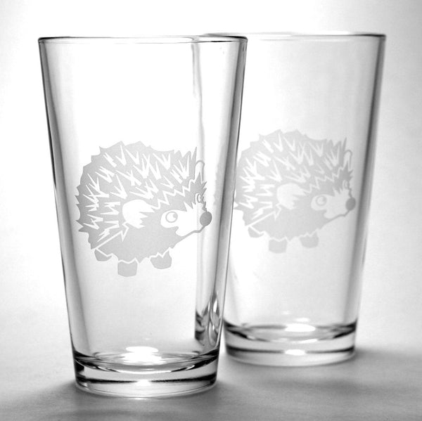 Hedgehog beer pint glass set of 2