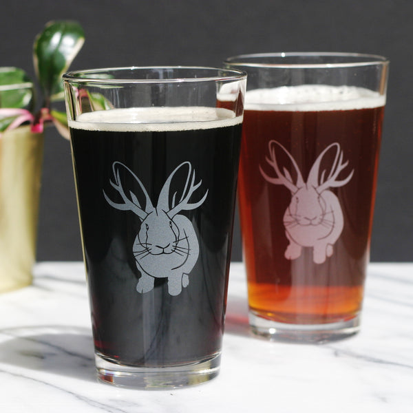 Jackalope beer glasses by Bread and Badger