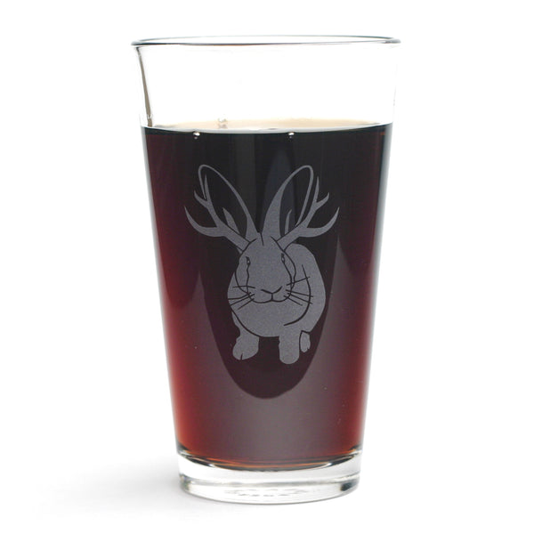 Jackalope pint glass by Bread and Badger