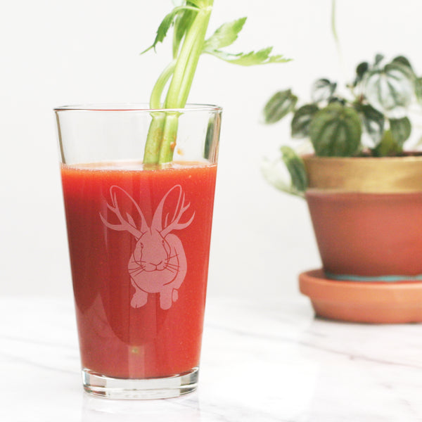 Jackalope rabbit pint glass by Bread and Badger
