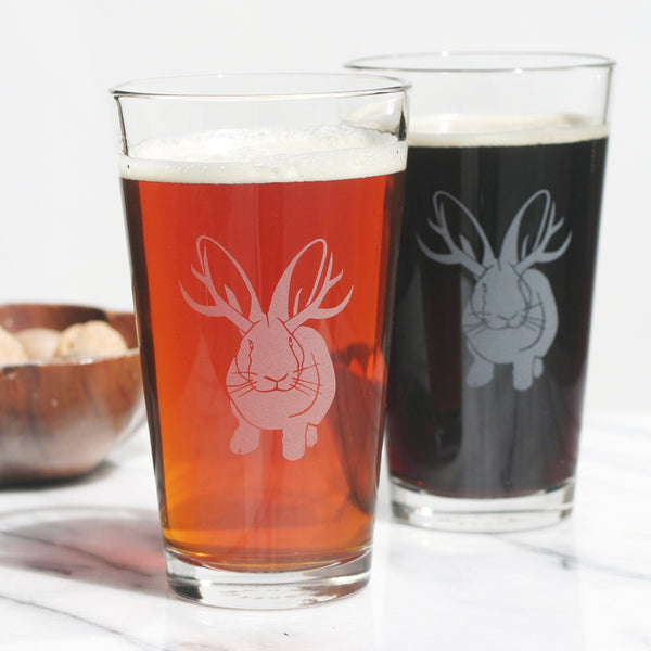 Jackalope antlered bunny pint glass by Bread and Badger