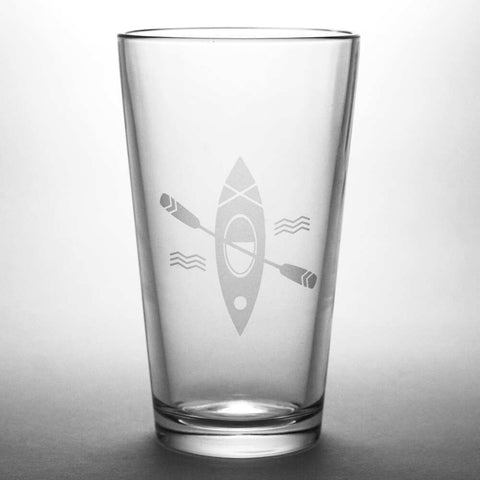 Kayak etched pint glass by Bread and Badger
