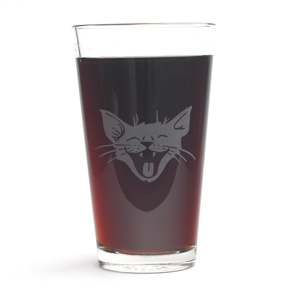 Laughing Cat pint glass by Bread and Badger