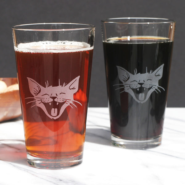 Laughing Cat beer glasses by Bread and Badger