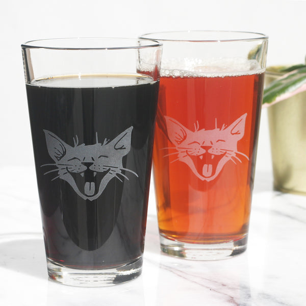 Laughing Cat pint glasses by Bread and Badger