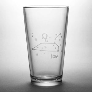 Leo constellation pint glass by Bread and Badger