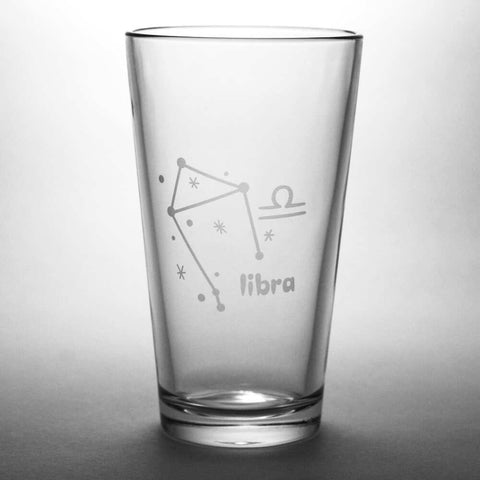 Libra constellation pint glass by Bread and Badger