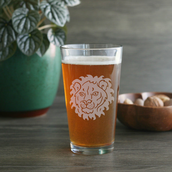 Lion pint glass by Bread and Badger
