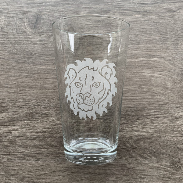 Lion engraved pint glass by Bread and Badger