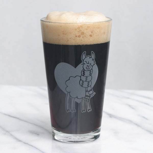 Llama or Alpaca pint glass by Bread and Badger