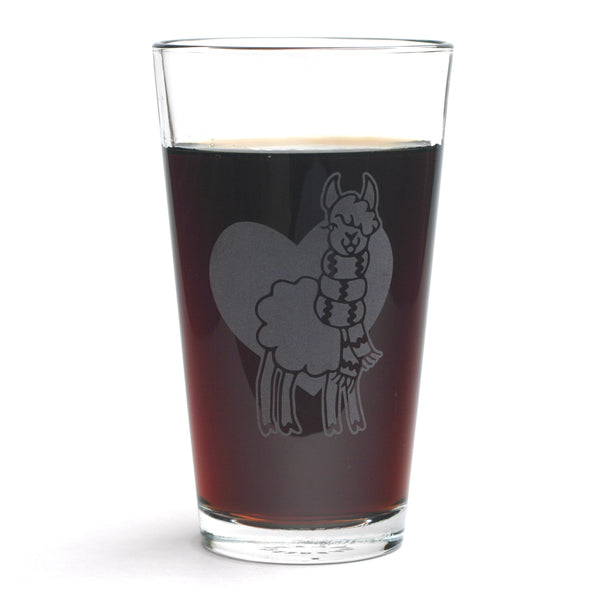 Llama pint glass by Bread and Badger