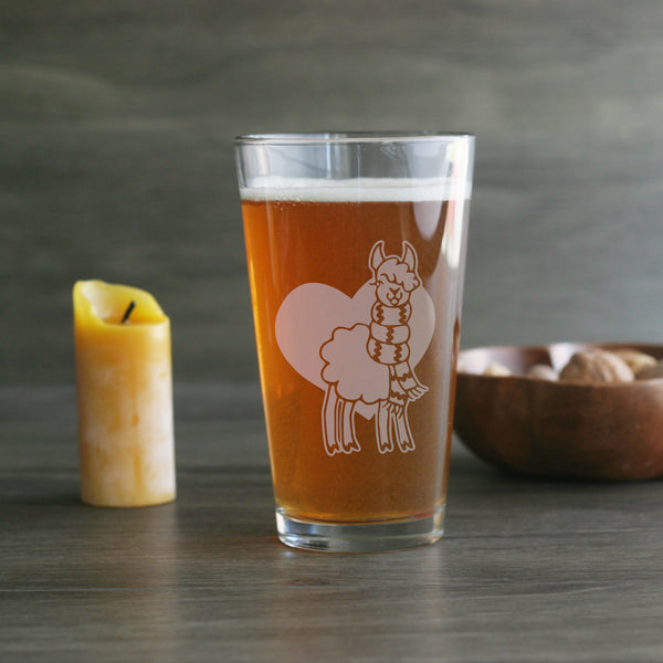 Llama pint glass for knitters and crocheters