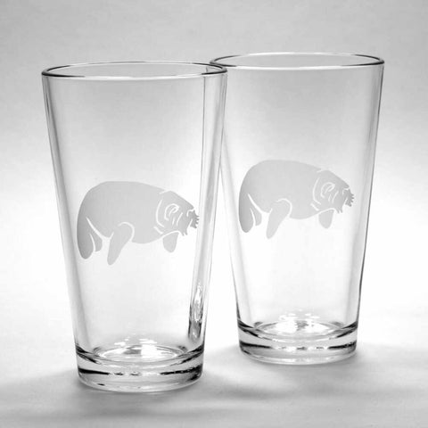 2 Manatee pint glasses by Bread and Badger