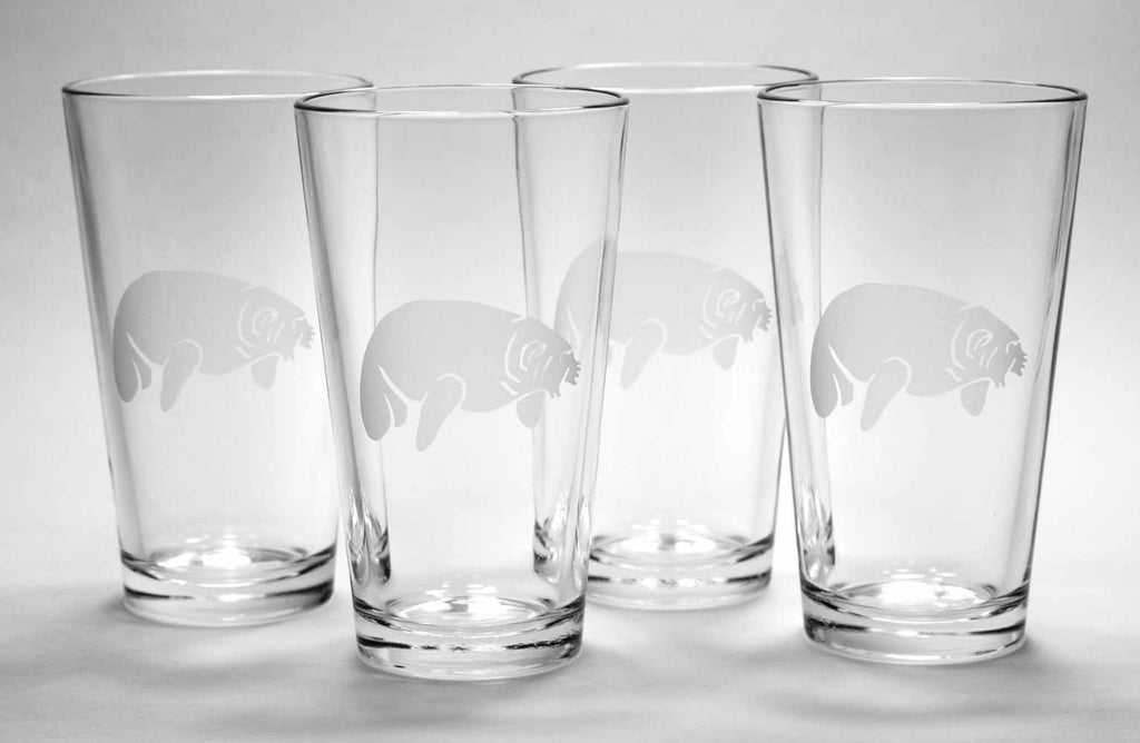 4 Manatee pint glasses by Bread and Badger