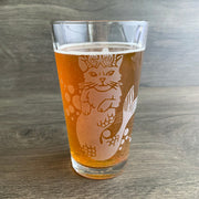 Mermaid Cat engraved pint glass by Bread and Badger