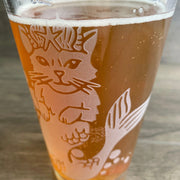 Mermaid Cat etched pint glass by Bread and Badger