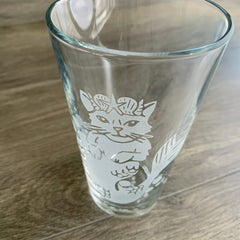 Mermaid Cat etched beer glass by Bread and Badger