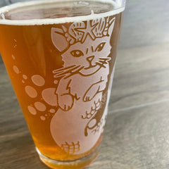 Mermaid Cat beer glass by Bread and Badger