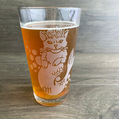 Mermaid Cat pint glass by Bread and Badger
