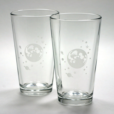 full moon and stars astronomical space pint glasses by Bread and Badger