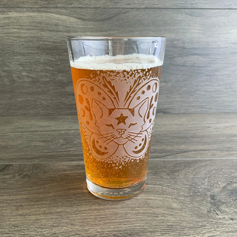 Moth Cat beer pint glass by Bread and Badger
