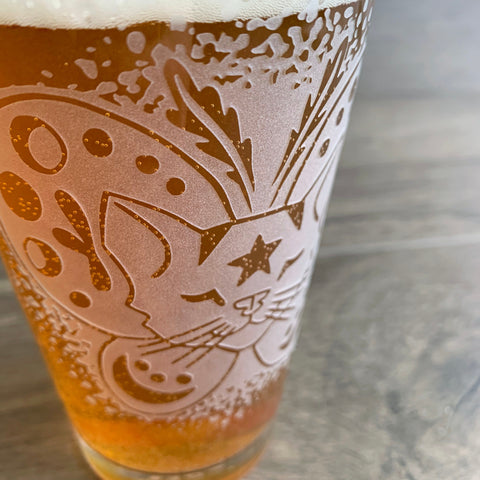 Moth Cat engraved pint glass by Bread and Badger