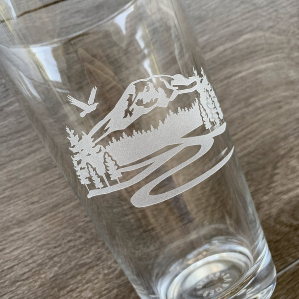 Mt Rainier beer glass engraved by Bread and Badger