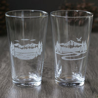 Mountain Pint Beer Pint Glass - etched glassware