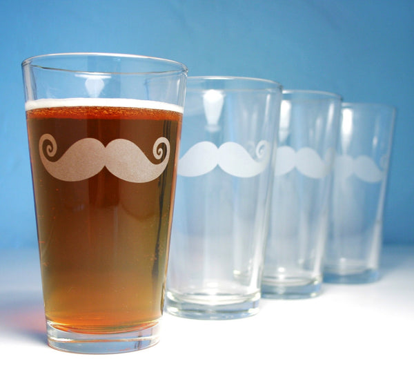 Mustache pint glass set of 4