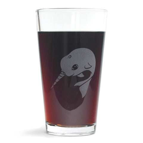 Narwhal beer glass by Bread and Badger