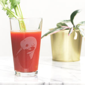 Narwhal pint glass by Bread and Badger