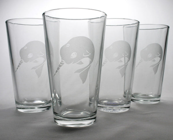 4 narwhal pint glasses