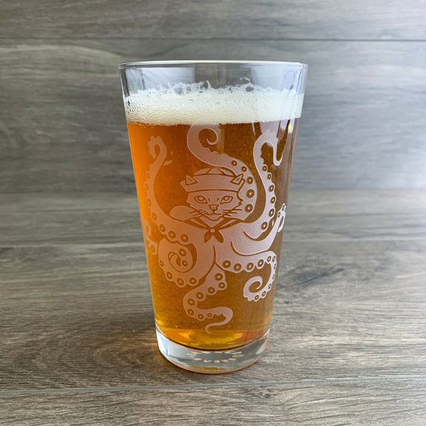 Octopus Cat pint glass by Bread and Badger