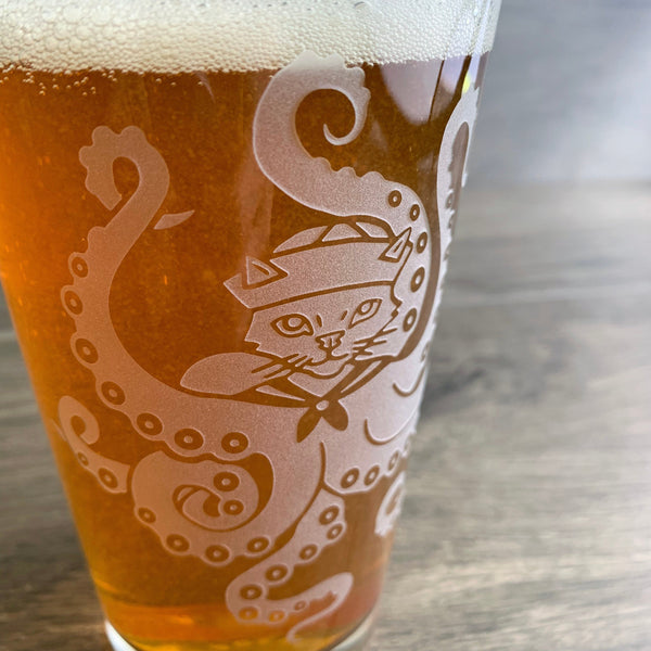 Octopus Cat etched pint glass by Bread and Badger
