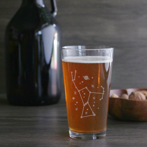 Orion constellation pint glass