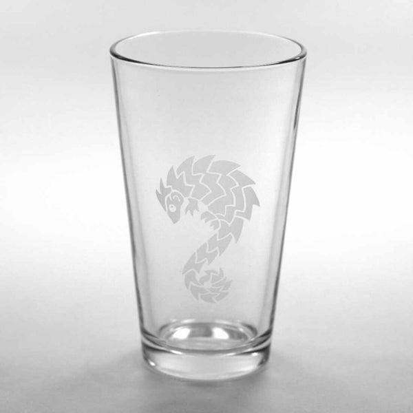 Pangolin etched pint glass by Bread and Badger