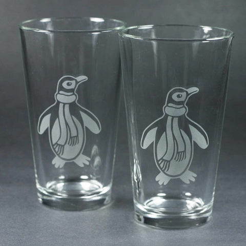 penguin winter pint glasses by Bread and Badger