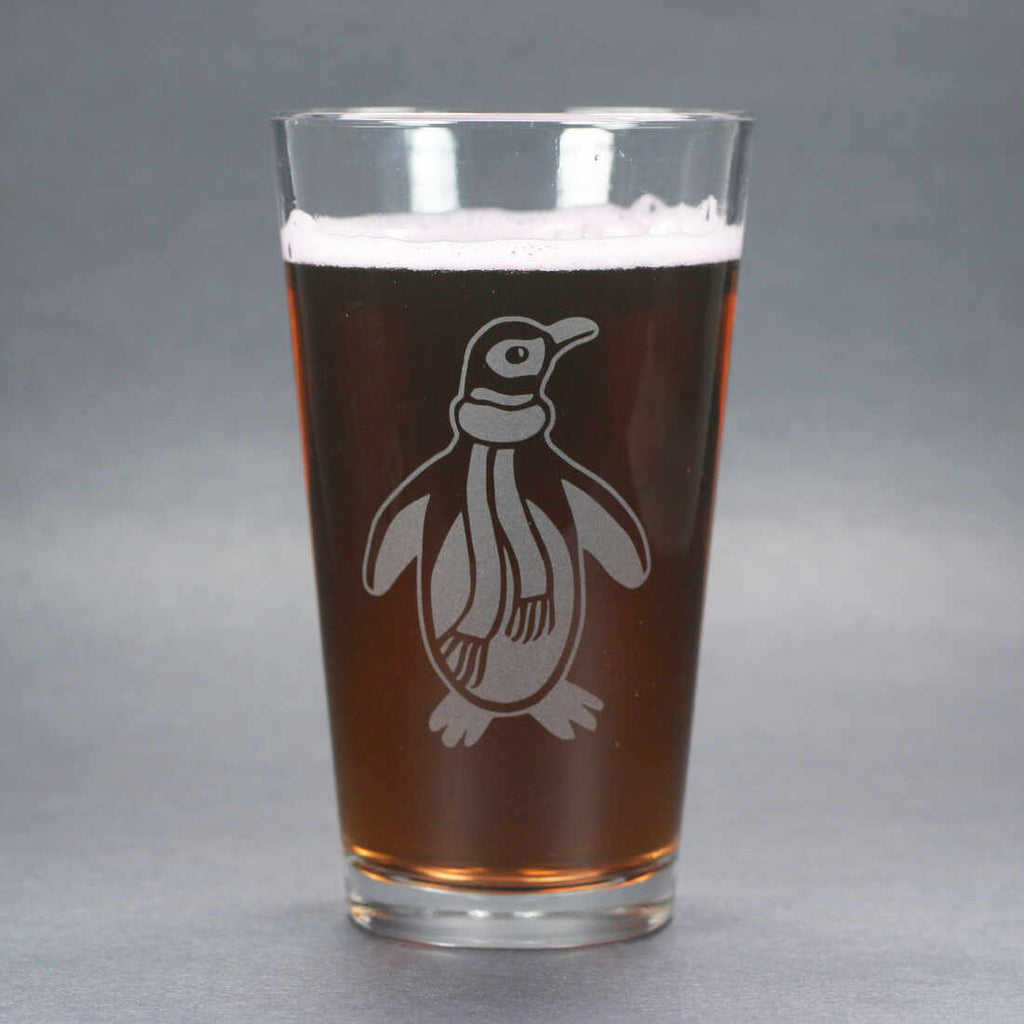 penguin pint glass by Bread and Badger