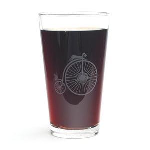 Penny Farthing Bike Steampunk Pint Glass by Bread and Badger