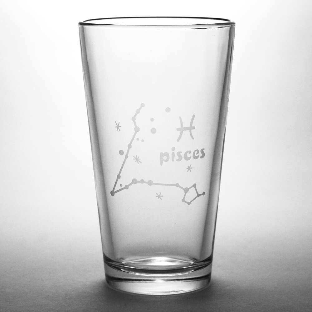 Pisces constellation pint glass by Bread and Badger