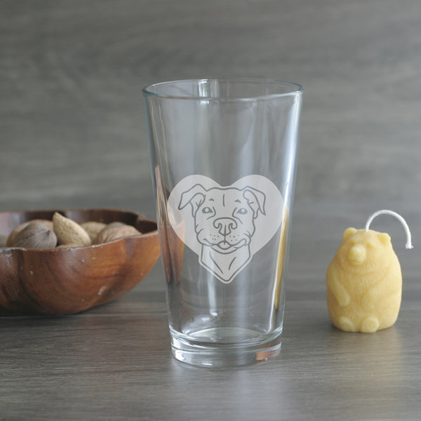 Pit bull dog pint glass by Bread and Badger