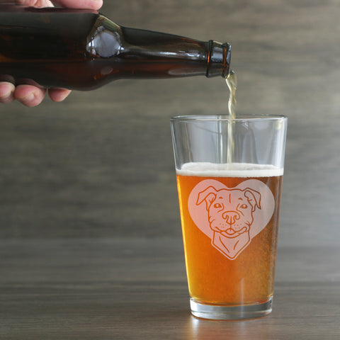 Pit bull dog beer glass by Bread and Badger