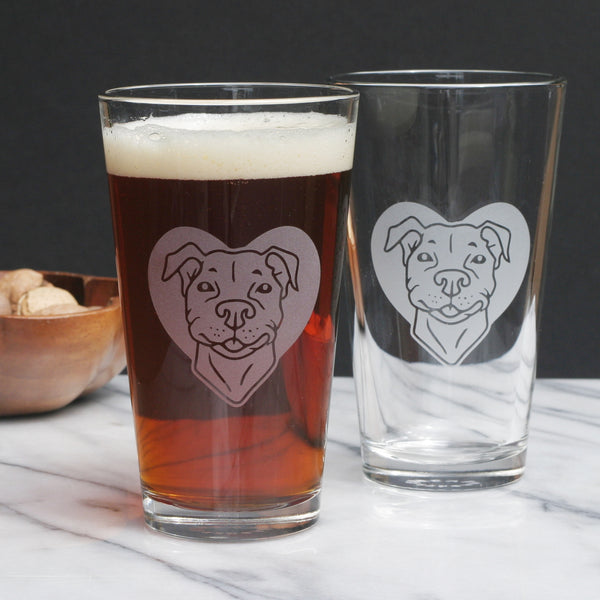 Pit Bull pint glasses by Bread and Badger