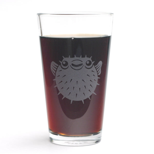 Puffer Fish pint glass by Bread and Badger