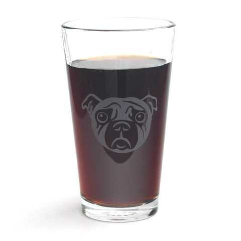 Pug dog pint glass by Bread and Badger